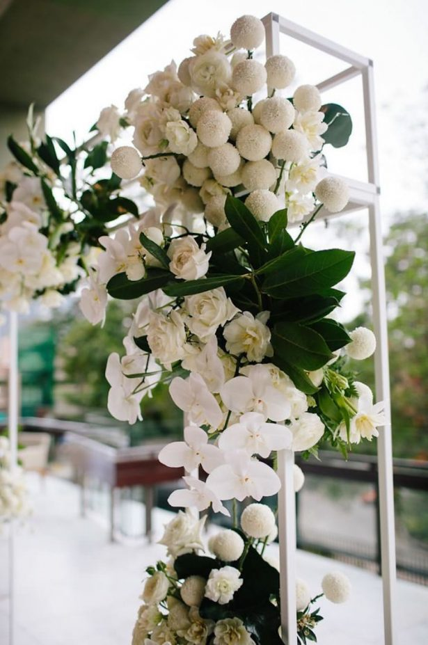 White wedding flowers and greenery - Photography: Prue Franzman