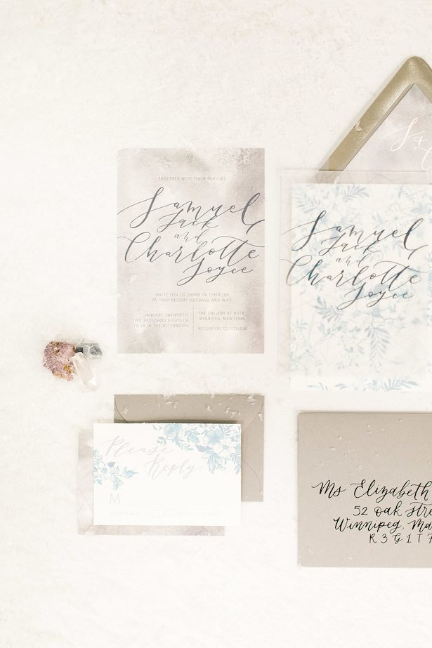Winter wedding invitations - Esther Funk Photography