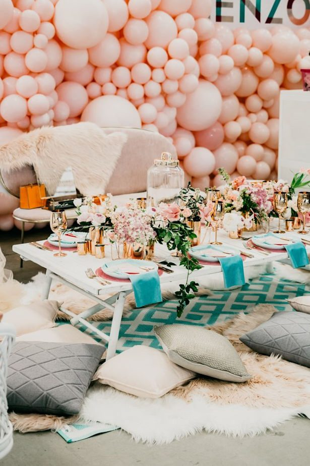 Wedding balloon backdrop - Photo by Bianca Virtue