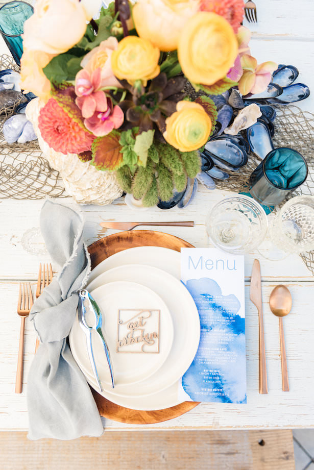 Creative Wedding Place Setting Idea 003. Chic Celebrations - Sanaz Photography - Hidden Garden Flowers - Borrowed Blu - Delovely Details - Found Rentals