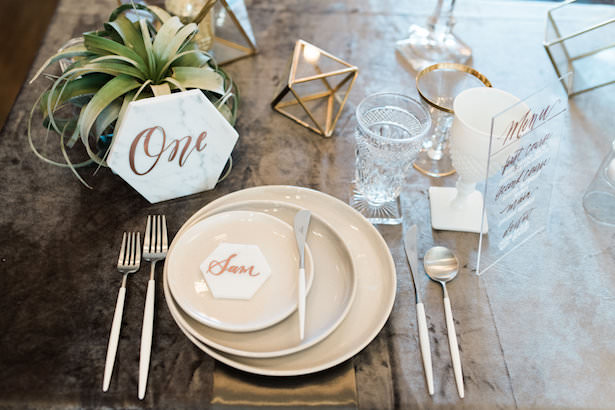 Creative Wedding Place Setting Idea 004. EDE By Jacqueline - Jillian Rose Photography - Linens by Luxe Linen - Tabletop Rentals by Borrowed Blu - Calligraphy by Heidi Davidson Design