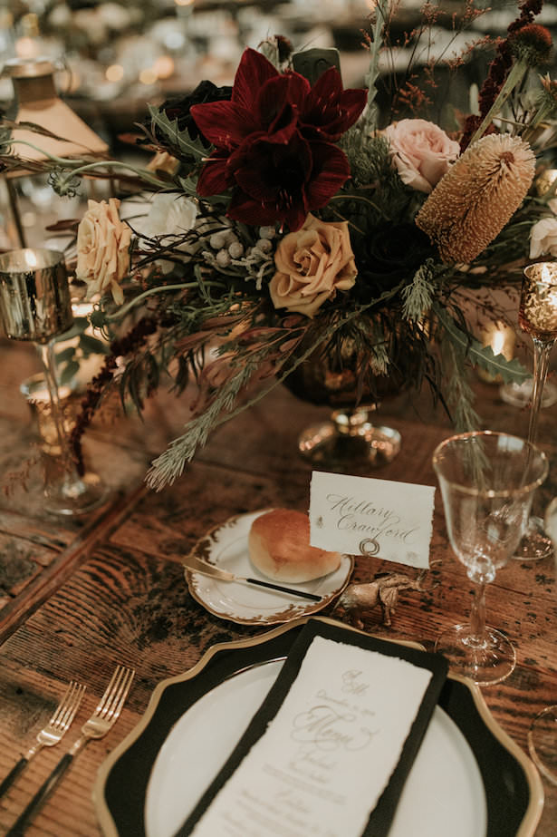 Creative Wedding Place Setting Idea 005. Feathered Arrow Events - Rachel Gulotta Photography - Floral Design by Petals and Pop Shop - Tabletop Rentals by Casa de Perrin - Rentals by Found Rentals