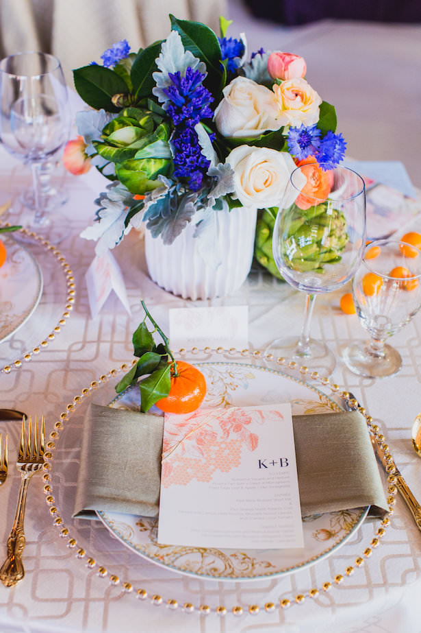 Creative Wedding Place Setting Idea 009. Luxe Event Productions - Photo by Mary Boyden - Linens by La Tavola