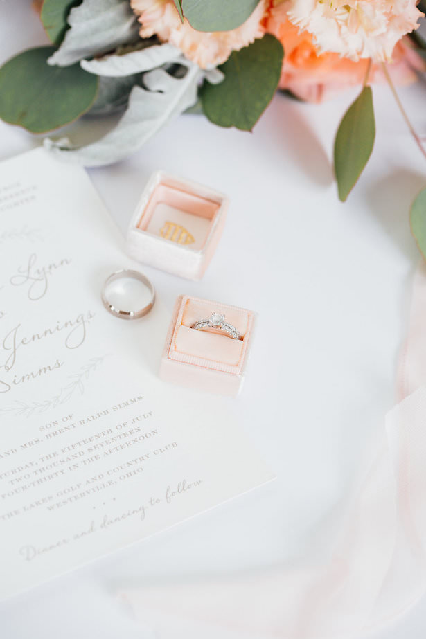 Diamond Wedding ring with blush wedding ring box - Rachel Figueroa Photography