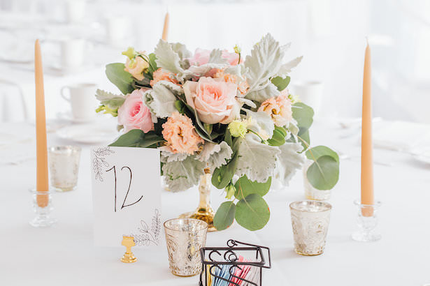 Elegant lowe wedding centerpiece with candles - Rachel Figueroa Photography