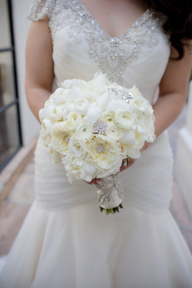 Glamorous white rose bouquet with brooches - Hollywood Pro Weddings