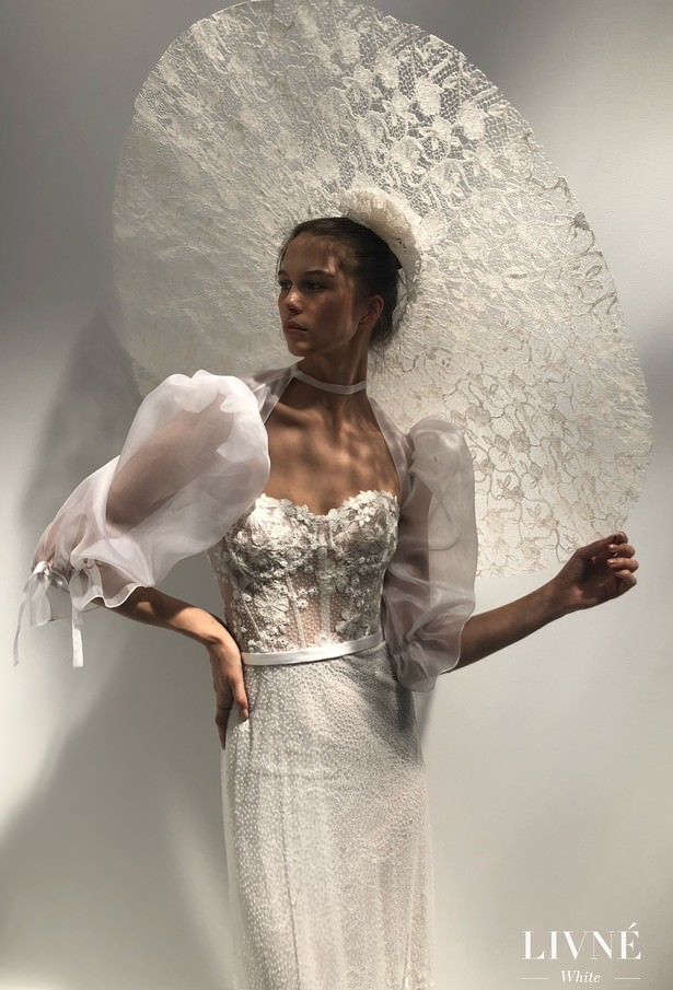Livné White 2019 Wedding Dress - Eden Bridal Collection - JEAN - JACKIE BOLERO - MANDY HAT