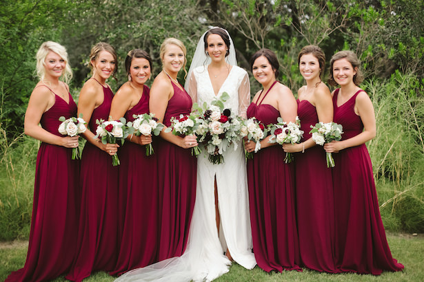 Long burgundy Bridesmaid dresses - Photo: Elizabeth Bristol