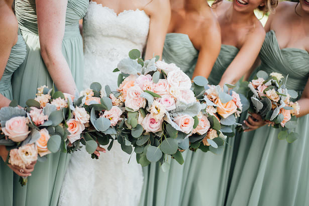 Mint and blush bridesmaid bouquets - Rachel Figueroa Photography