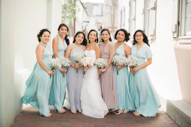 Mismatched Long pastel bridesmaid dresses - Brooke Images