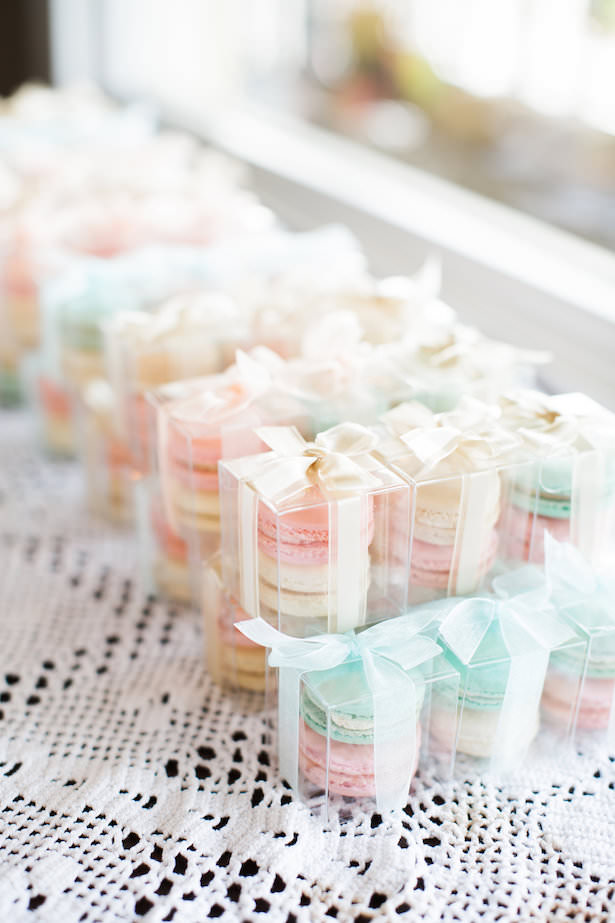 Pastel macaroon wedding favors - Brooke Images