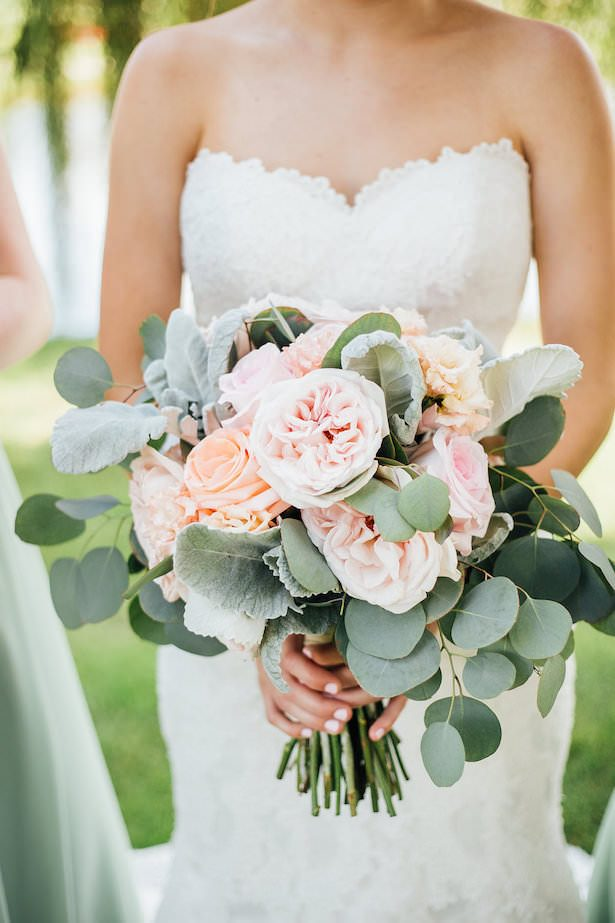 Romantic Wedding bouquet with roses and greenery - Rachel Figueroa Photography