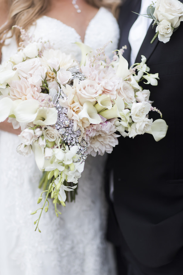 Romantic floral wedding bouquet with brooch - Aislinn Kate Photography