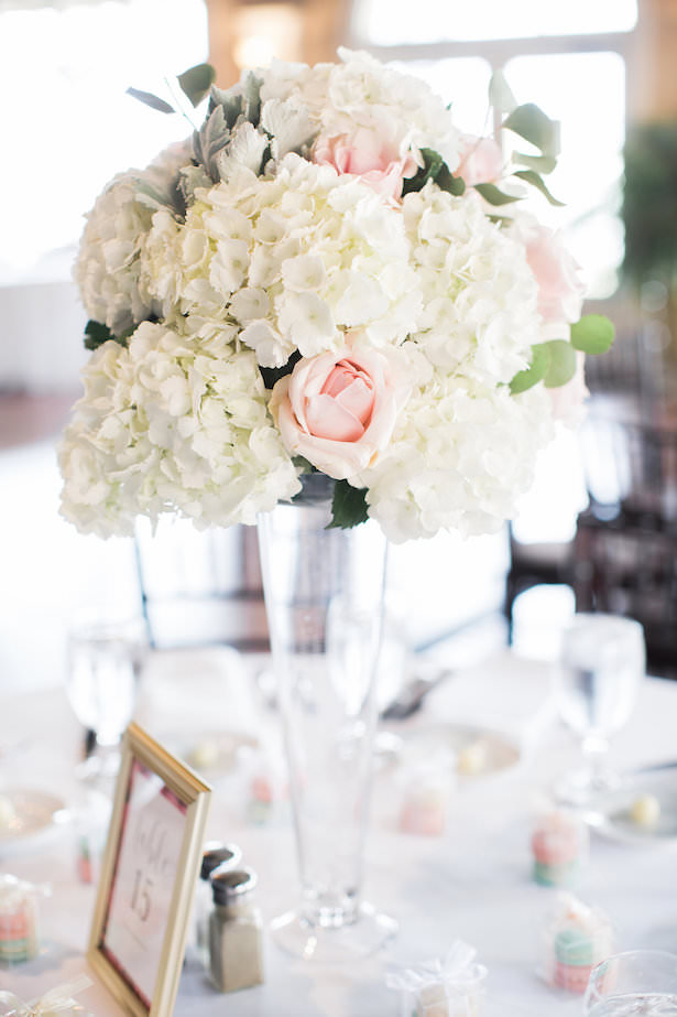 Tall wedding centerpiece with white hydrangeas and pink roses - Brooke Images
