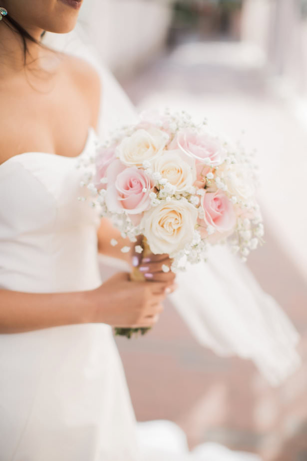 White and pink roses wedding bouquet - Brooke Images