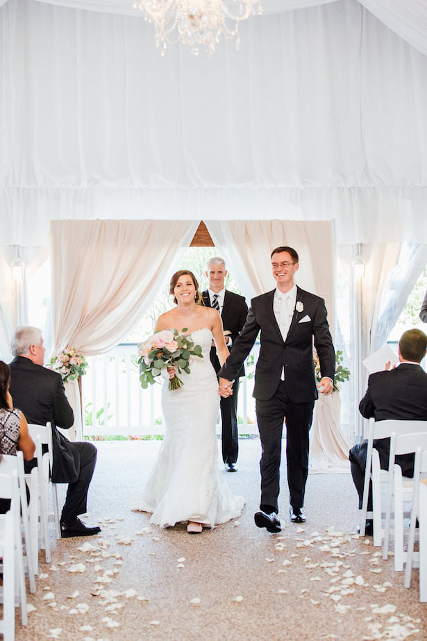 White drapery wedding ceremony decor - Rachel Figueroa Photography