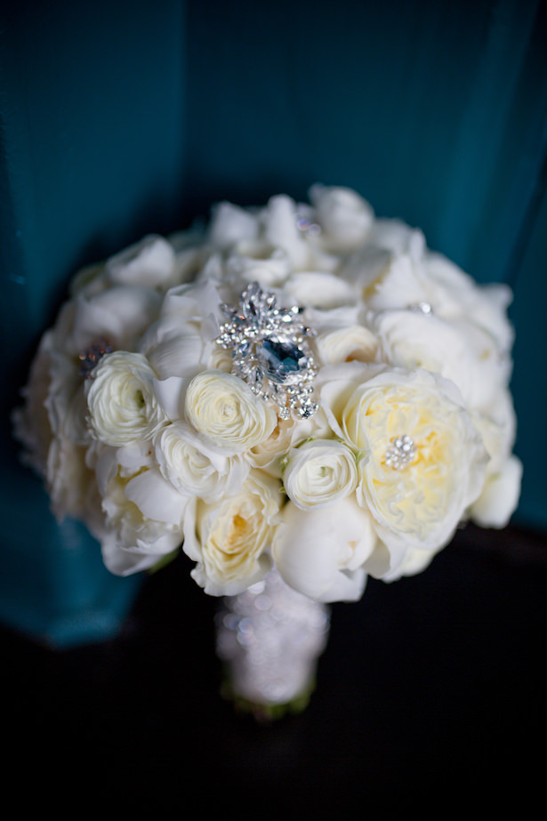 White rose bridal bouquet with brooch - Hollywood Pro Weddings