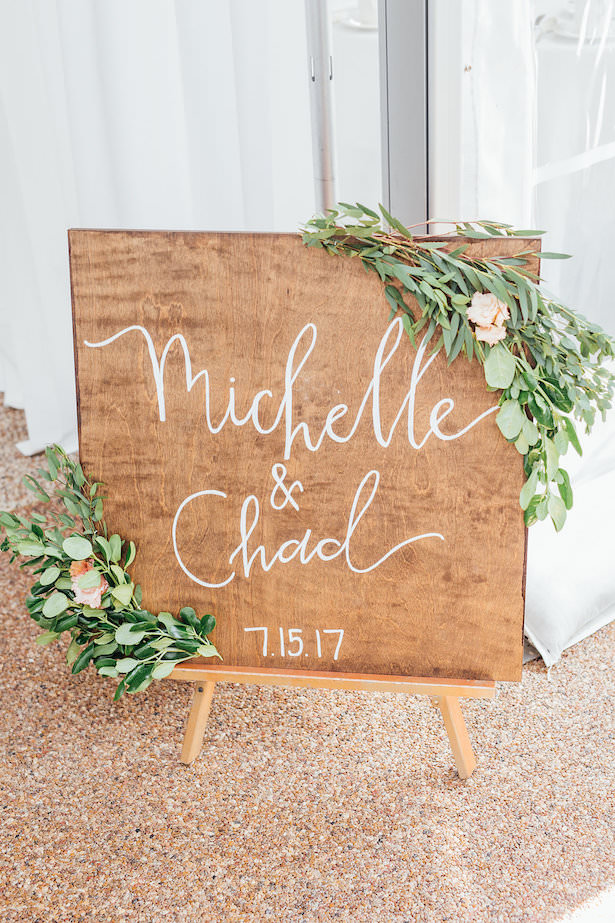 Wood wedding sign with greenery and flowers - Rachel Figueroa Photography