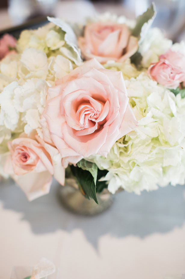 wedding centerpiece with pink roses and white hydrangeas - Brooke Images