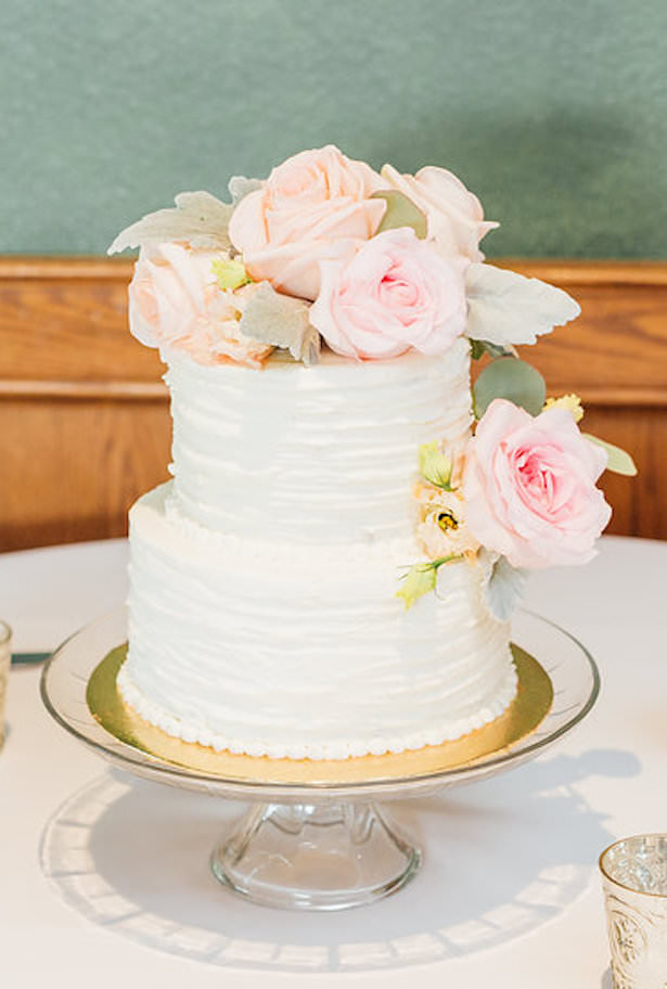 white Buttercream wedding cake with flowers - Rachel Figueroa Photography