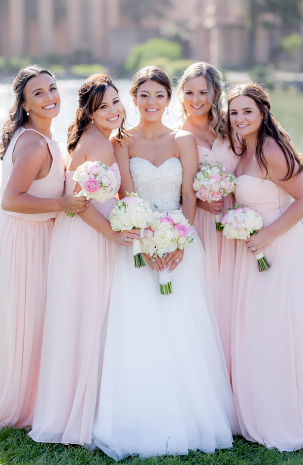 Blush Long Bridesmaid Dresses - Clane Gessel Photography