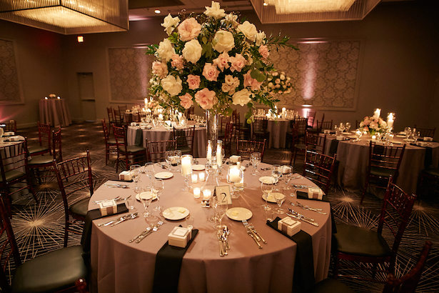 Elegant ballroom wedding reception decor - Wasio Photography