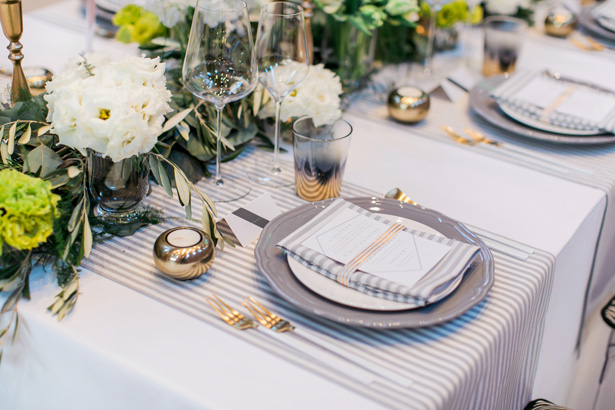 Greenery Wedding Tablescape Menu Plate Setting - Nora Photography