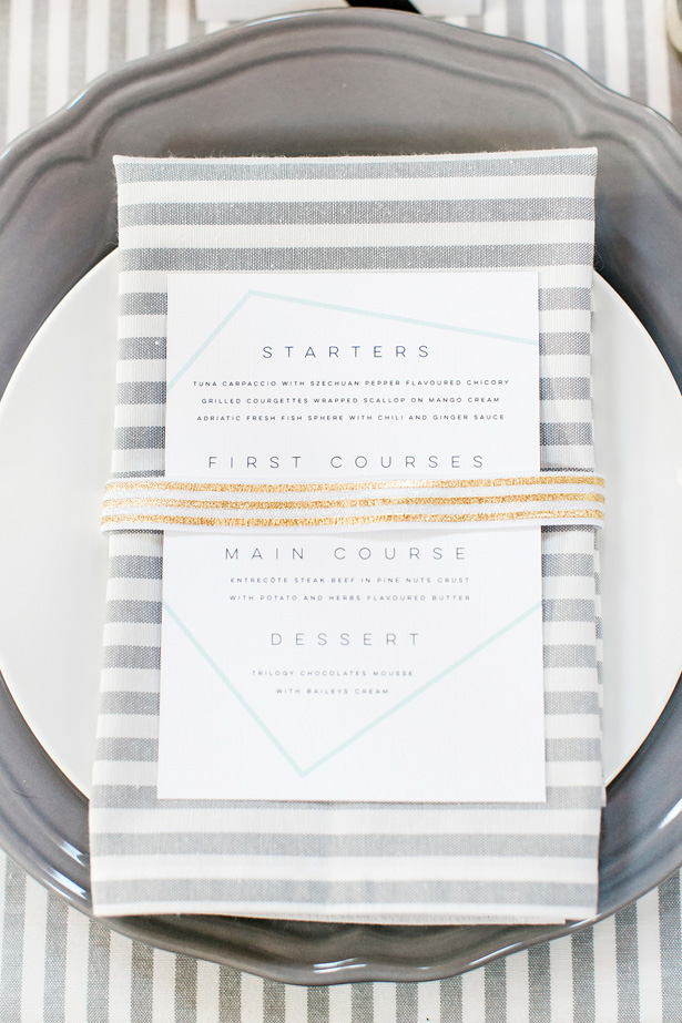 Modern Luxury Wedding Menu - Nora Photography