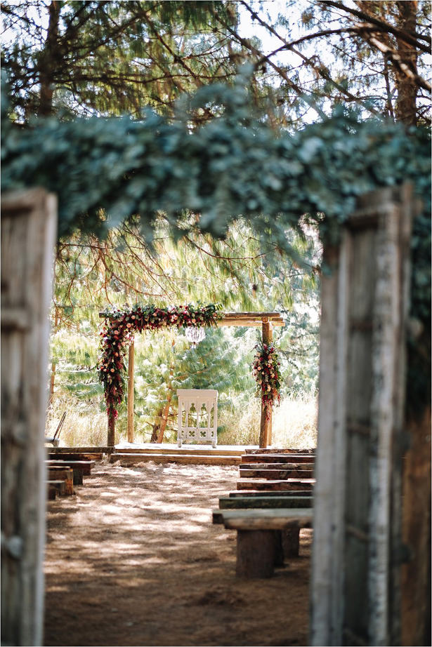 Outdoor rustic wedding ceremony arch - The Shank Tank