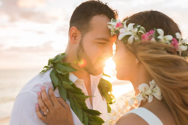 Romantic wedding photo - beach destination wedding Hawaii -Karma Hill Photography