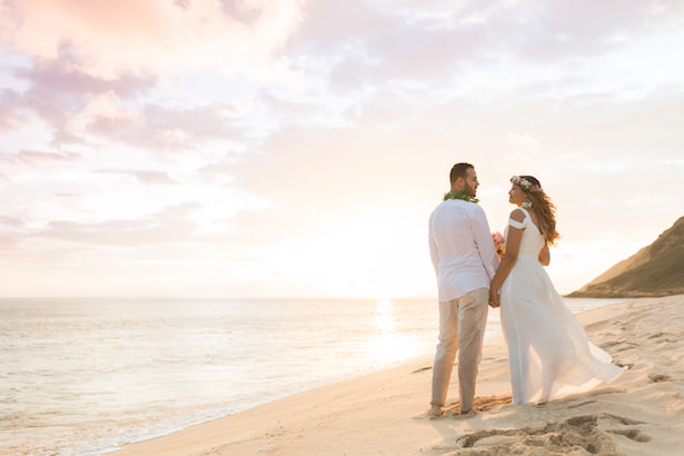 Romantic wedding photo - beach destination wedding Hawaii Karma Hill Photography