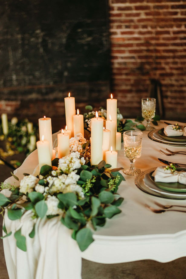 White Candle Wedding Table Centerpiece - Photography: Dewitt for Love LL