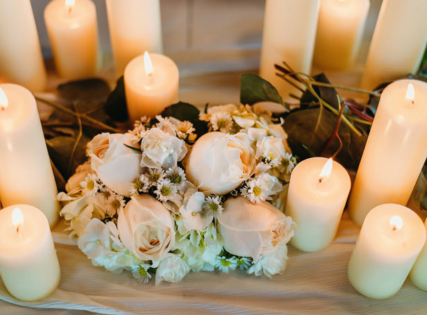 White Rose and Candle Wedding Table Centerpiece - Photography: Dewitt for Love LL