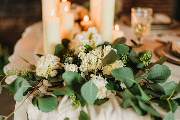 White and green Wedding Table Centerpiece - Photography: Dewitt for Love LL