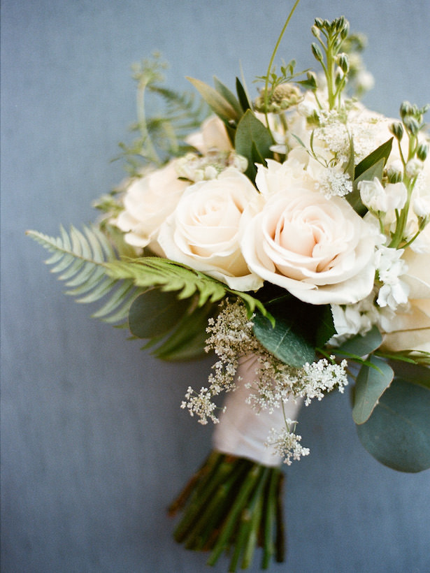 White rose and greenery wedding bouquet - Photography: Rochelle Louise