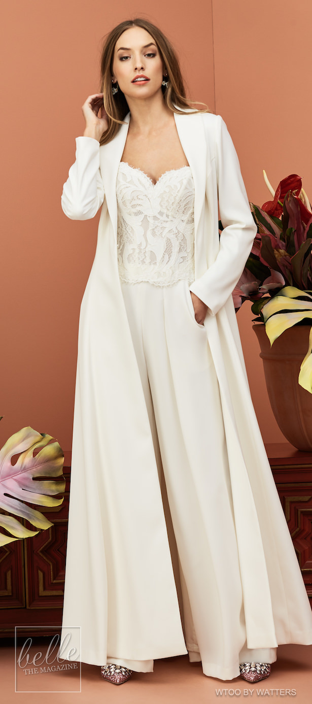 Wtoo by Watters Wedding Dress Collection Fall 2018 - Pantsuit and cape