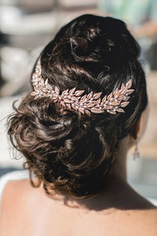 gold Wedding Hair Clip - Nora Photography