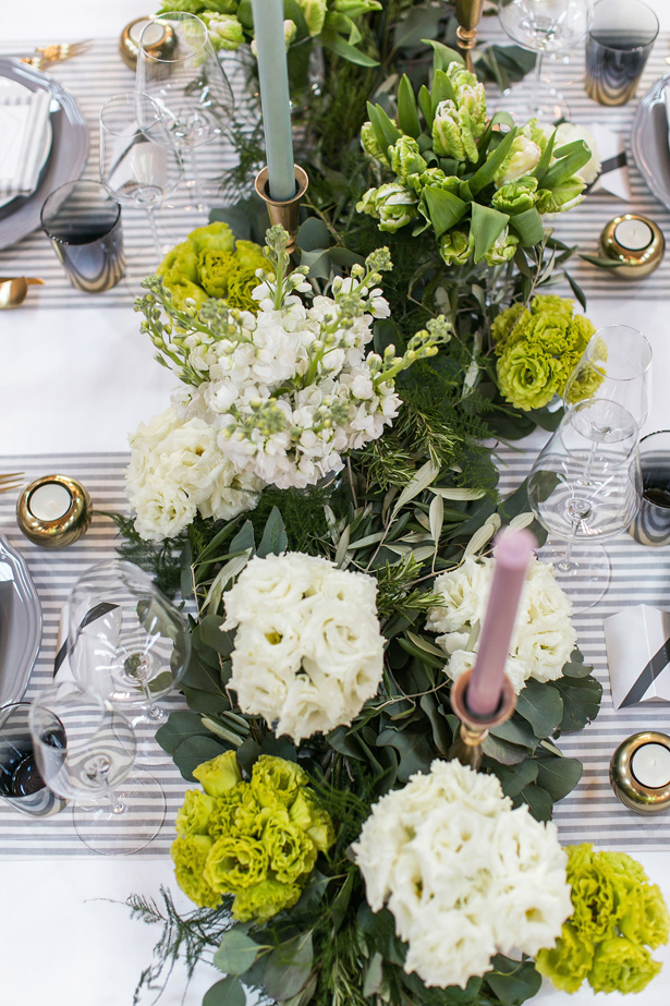 greenery wedding table details - Nora Photography