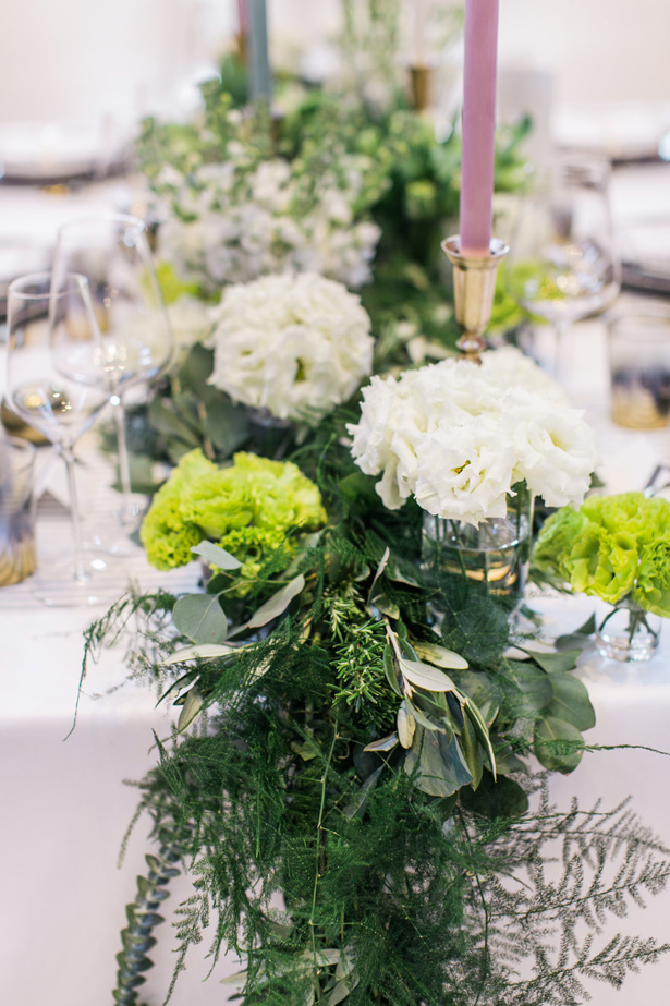 greenery wedding table garland - Nora Photography