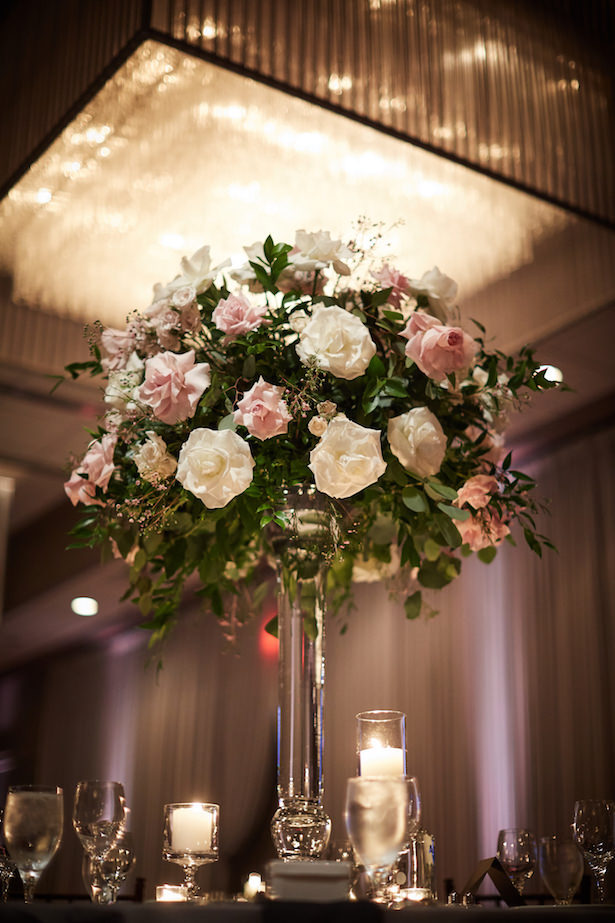tall wedding centerpiece with roses - Wasio Photography