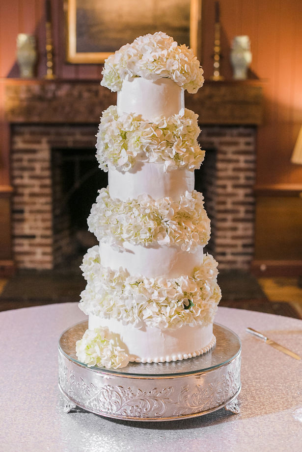 White Wedding Cake with flowers - - Allison Nichole Photography