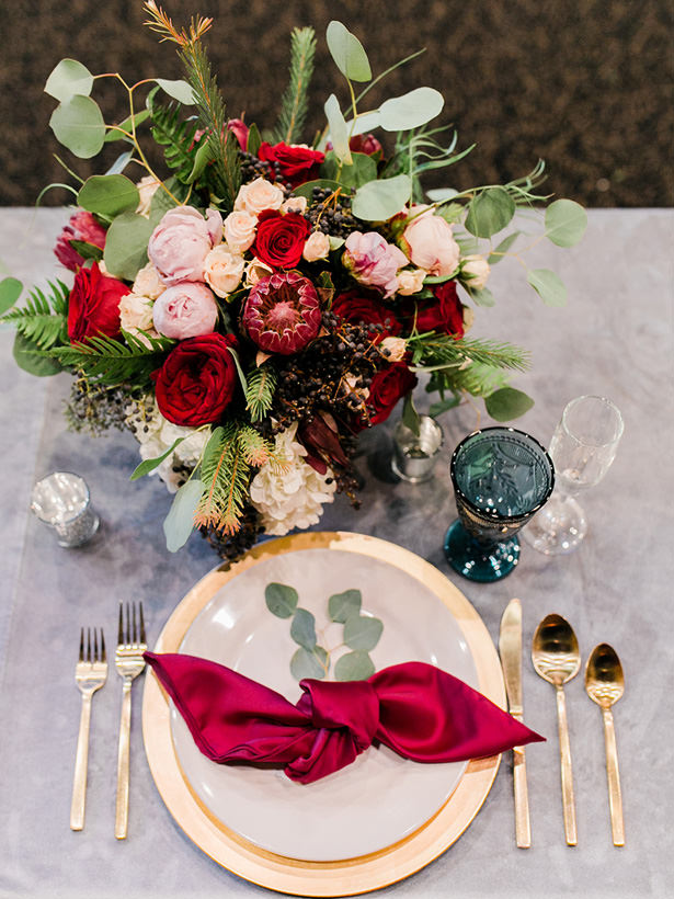 Burgundy Wedding Centerpiece - Mandy Ford Photography