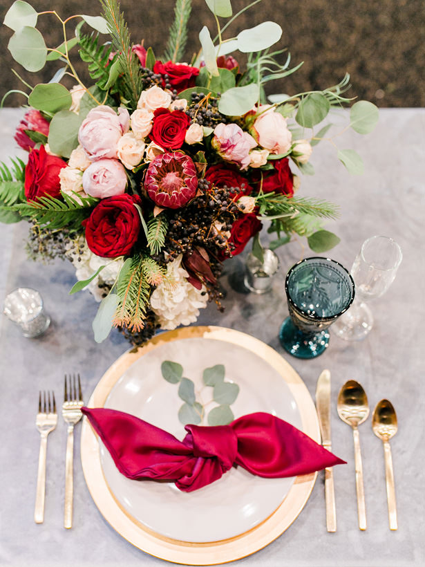 Burgundy Wedding Place Setting - Mandy Ford Photography