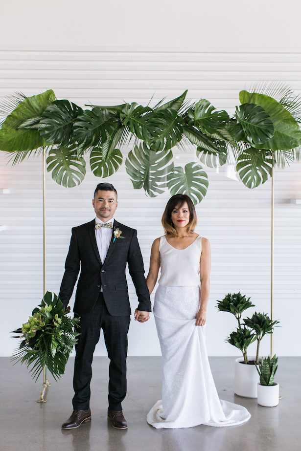 Contemporary Tropical Wedding Arch - J Wiley Photography