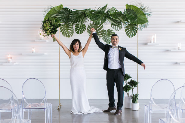 Minimalist Tropical Wedding Arch - J Wiley Photography