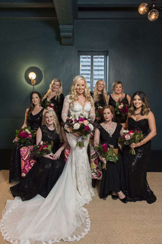 Mismatched Long Black bridesmaid dresses - Photography: The Big Affair
