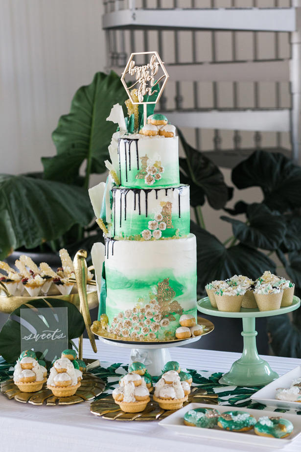 Modern Wedding Cake Table Details - J Wiley Photography