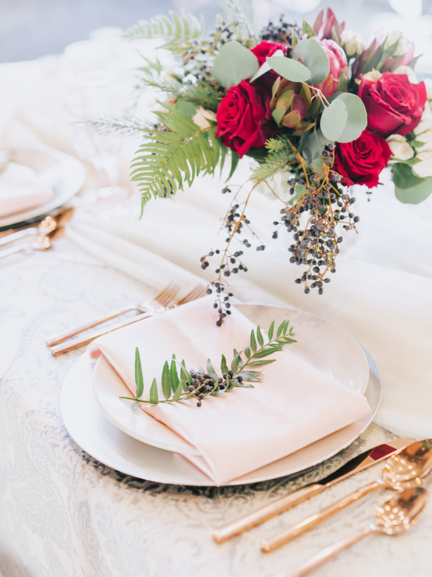 Pink and gold Wedding Plate Setting - Mandy Ford Photography