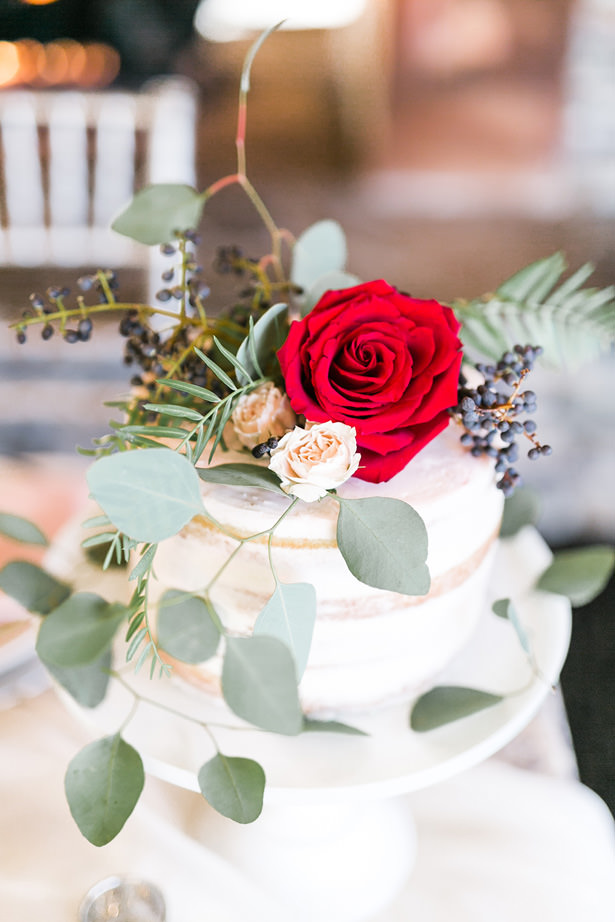 Red Rose Naked wedding cake - Mandy Ford Photography