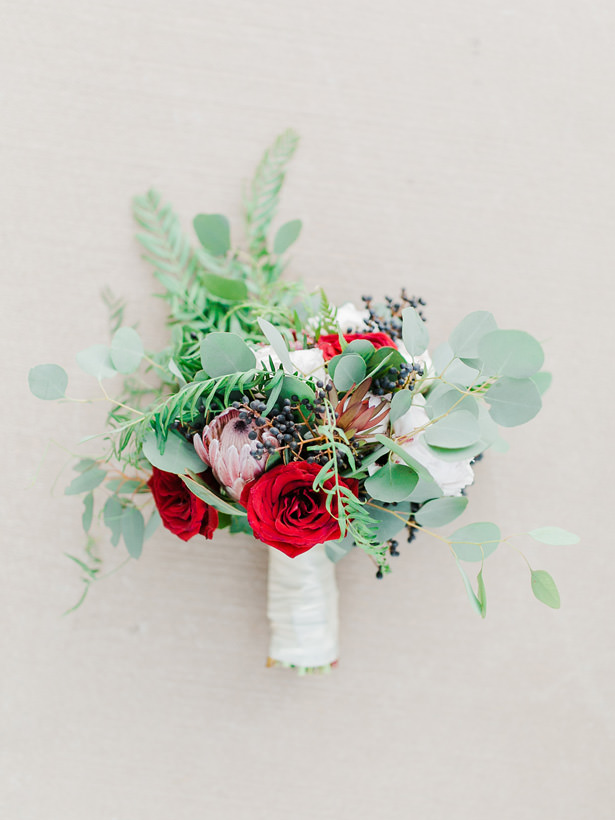 Romantic Wedding bouquet with roses and greenery - Mandy Ford Photography